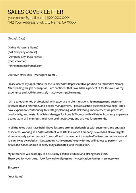 cover letter sample for sales representative best sales representative cover letter examples livecareer - Sales Representative Cover Letter Samples