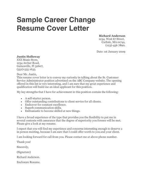 sample cover letters for career change