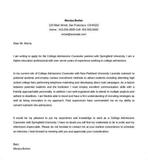 Cover Letter Sample For College Counselor College Admissions Counselor Cover Letter Sample Cover