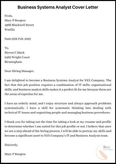 Best Cover Letter Business Analyst Cover Letter And Resume - Crm business analyst cover letter