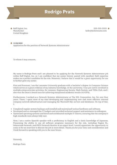 Cover Letter Network Administrator