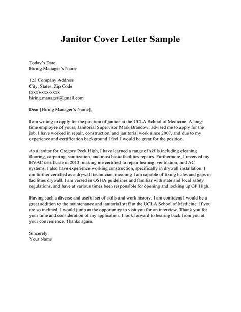 cover letter sample janitor janitorial cover letter sample housekeeper cleaner - Cleaner Cover Letter