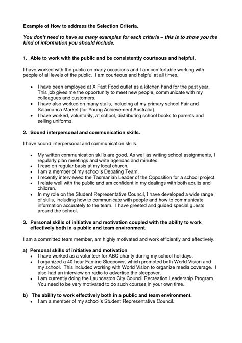 cover letter with selection criteria