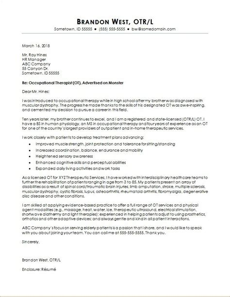 Cover Letter Template Occupational Therapist Occupational Therapist Cover Letter And Resume Examples