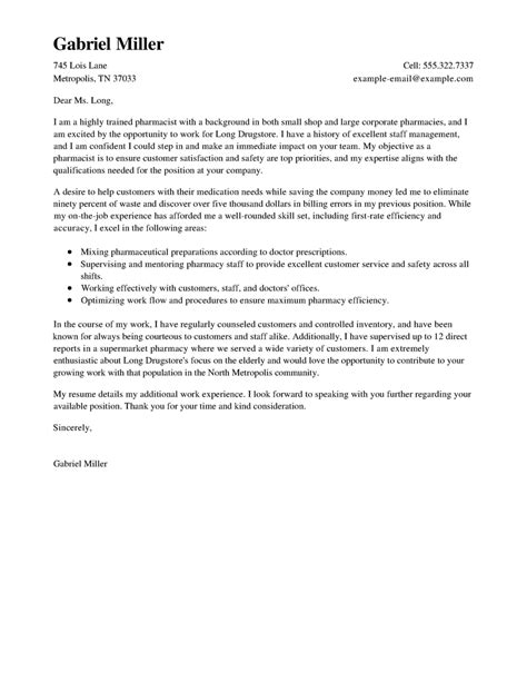 Cover Letter For Pharmacist Position Pharmacist Cover Letter Sample