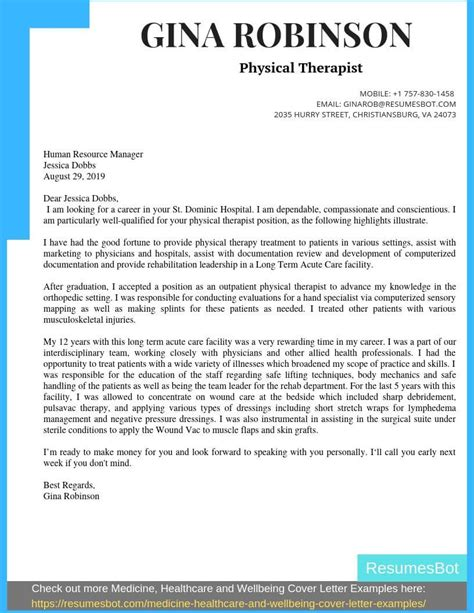 Cover Letter Template Occupational Therapist Physical Therapist Resume Cover Letter And Skills