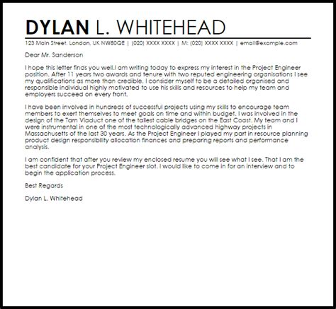 Gallery of Engineer Cover Letter Sample
