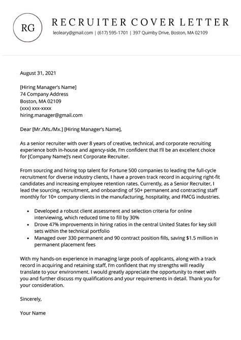 cover letter for recruitment agency sample