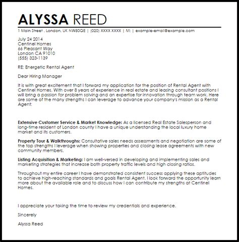 Cover Letter Template For Rental Application Administrators - Sample cover letter for rental application