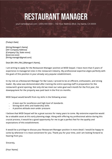 Cover Letter Sample Kitchen Restaurant Manager Cover Letter Sample