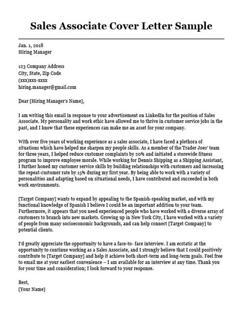 cover letter examples for retail sales associate sales associate cover letter sample