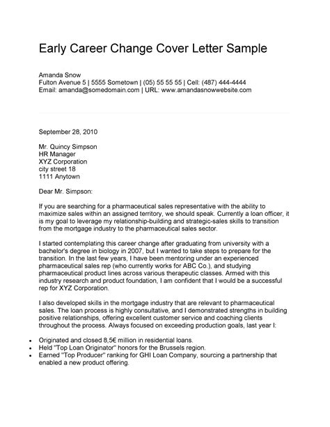 Cover Letter Example For Change Of Career Sample Career Change Cover Letter The Balance