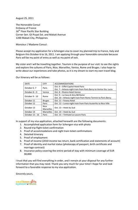 Cover Letter Sample For Embassy Job Schengen Visa Cover Letter Format With Sample And Common