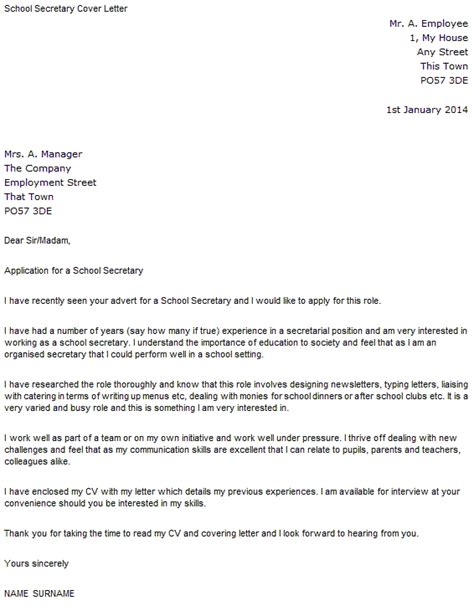 Cover Letter For Secretary With No Experience School Secretary Cover Letter Sample Cover Letters