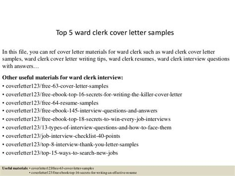 Cover Letter Examples Guardian Top 5 Ward Clerk Samples Slideshare