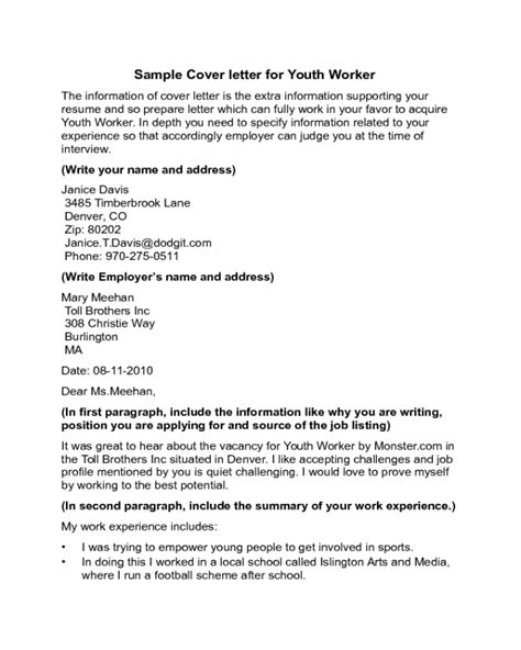 cover letter sample youth worker retail business plan template doc
