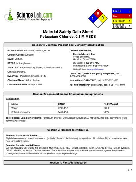 Cover Sheet Kcl Kcl Material Safety Data Sheet Chemical Name Potassium