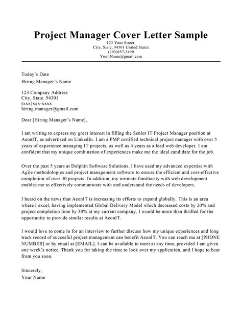 sample cover letter for it project manager position letters if