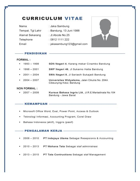 Cpns 2017 Aceh Tamiang Contoh Curriculum Vitae Lowongan Kerja Terbaru