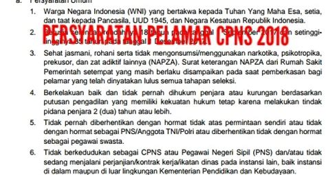 Cpns 2017 Syarat Persyaratan Cpns 2018 Sscnbkngoid 2018