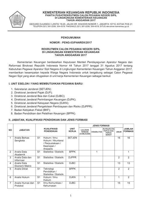 Cpns 2017 Kementerian Keuangan Rekrutmenkemenkeugoid Rekrutmen Cpns Kementerian