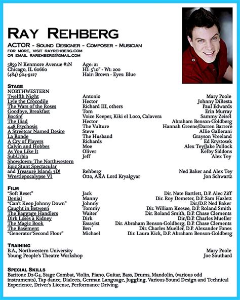 build acting resume online the 25 best acting resume template