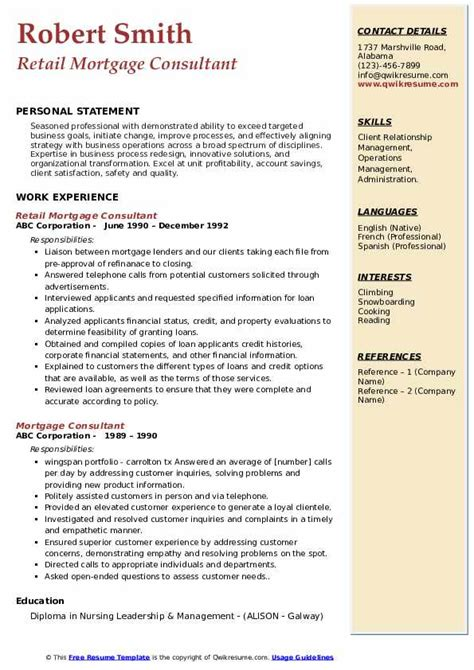 Creative Resume Introductions Mortgage Consultant Resume Samples Jobhero