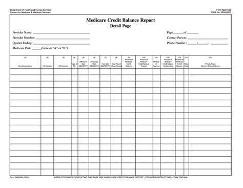 Credit Balance Form Medicare Credit Balance Report