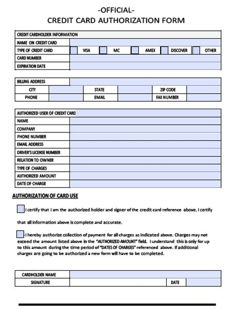 Credit Card Authorization Form Docusign Credit Card Authorization Form Pdf Fillable Templates