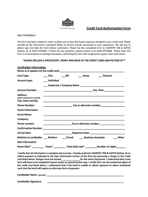 Credit Card Authorization Form Travel Credit Card Authorization Form Waterways Travel