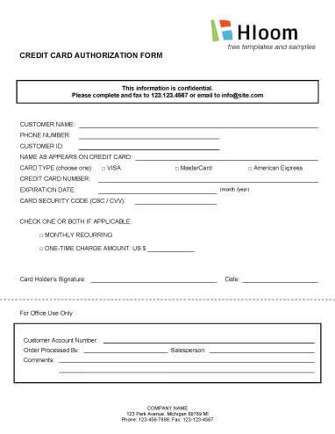 Credit Card Authorization Form Generic Credit Card Authorization Forms O Hloom