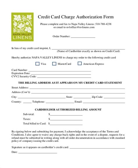 Credit Card Authorization No Credit Card Charge Authorization Form
