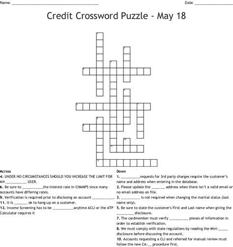 Credit Card Revealer Generator Crosswordspuzzleorg Crossword Solutions