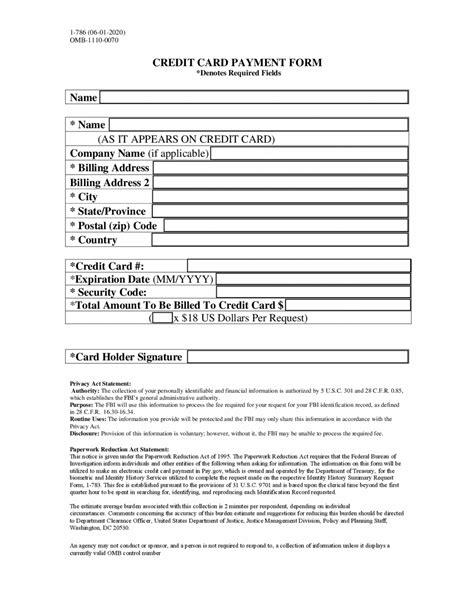 Credit Card Authorization Message Format Fbi Order Form And Credit Card Authorization Form