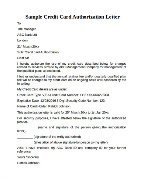 authorization letter for use of credit card