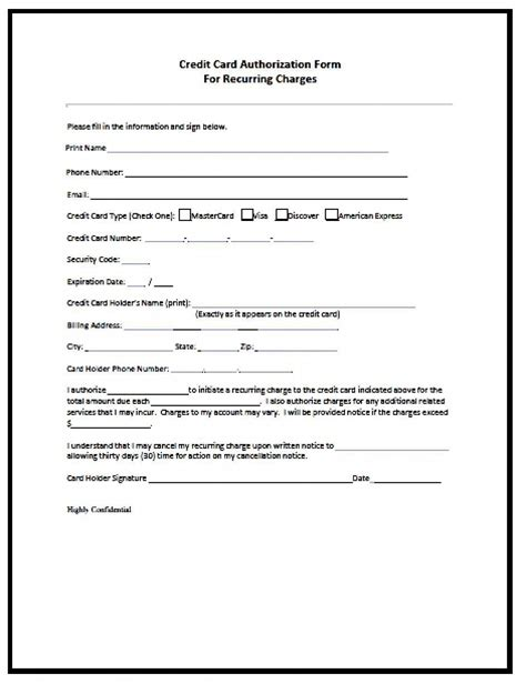 Credit Card Monthly Authorization Form Recurring Payment Authorization Form Free Download