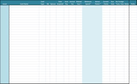 Credit Card Payment Spreadsheet