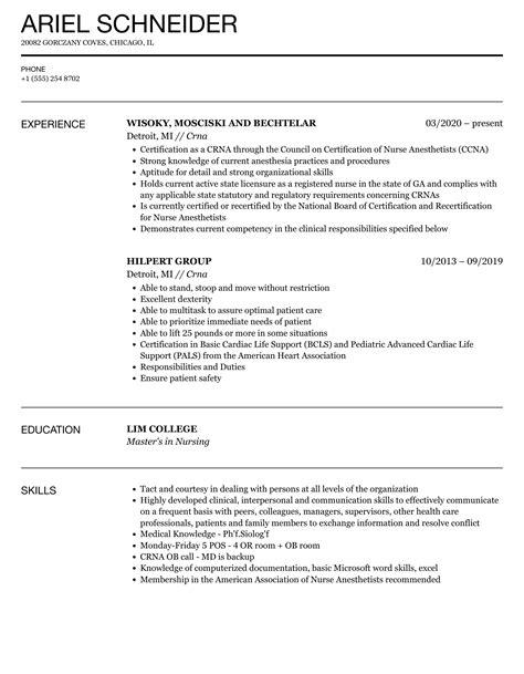 crna resume