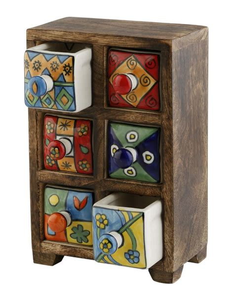 Curios 6 Drawer Wood Apothecary Accent Chest