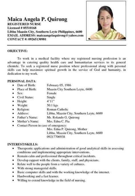 sample curriculum vitae for nurses in the philippines resume