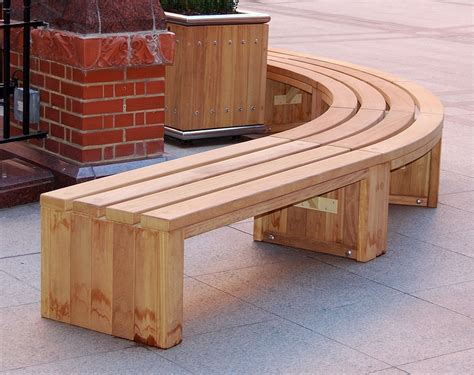 Curved Wooden Bench
