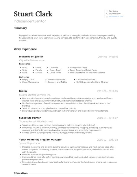 resume for school janitor purchase manager resume samples - School Custodian Resume