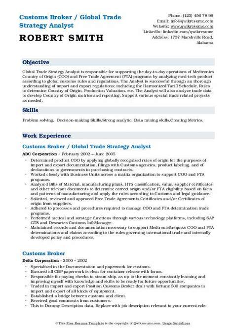 custom broker clerk resume customs broker resume best sample resume - Brokerage Clerk Sample Resume