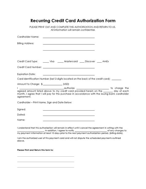 Credit Card Authorization Form To Keep On File Customer Authorization Recurring Auto Payment Form