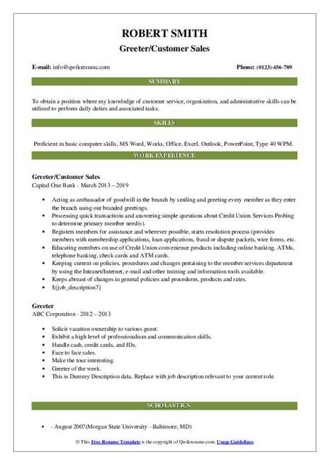 customer service greeter resume customer servicegreeterserver resume example pittsburgh sample greeter resume sample greeter resume - Sample Greeter Resume
