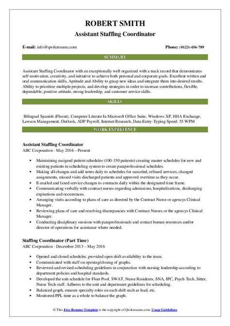 sample resume for nurse staffing coordinator customize this outstanding staffing coordinator resume