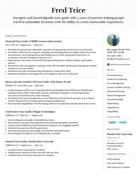 resume sample for tour guide customize this outstanding tour guide resume sample