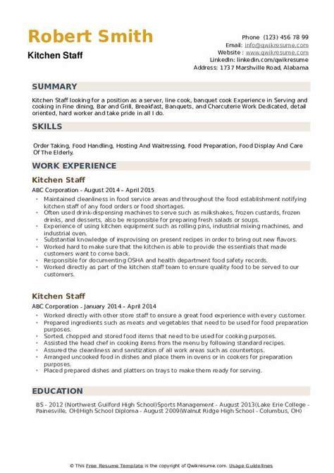 Cv Examples Kitchen Staff Kitchen Staff Resume Samples Visualcv Resume Samples