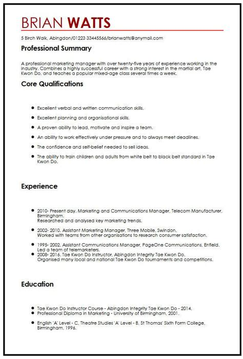 cv in english personal qualities free sample business agreement