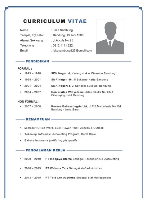 Cv Lamaran Kerja English Resume Writing Guide Pdf